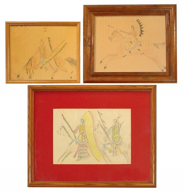 767: Primitive Indian colored drawings (3); all Chiefs