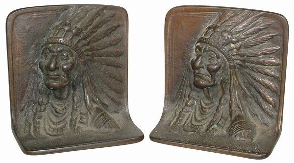 771: Indian bookends, bust of Indian Chief in full head