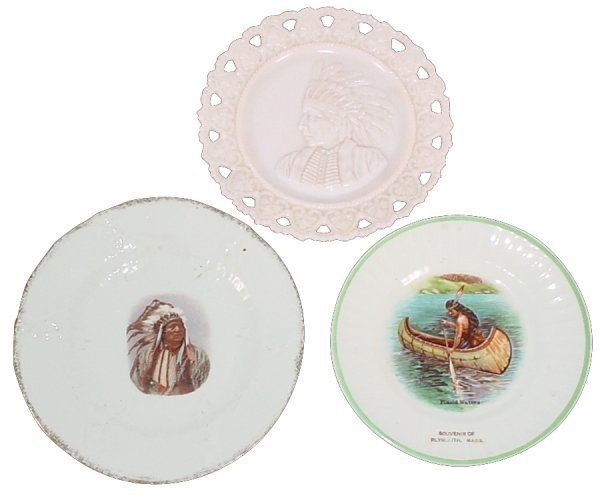 772: Indian souvenir plate from Plymouth, Mass, picture