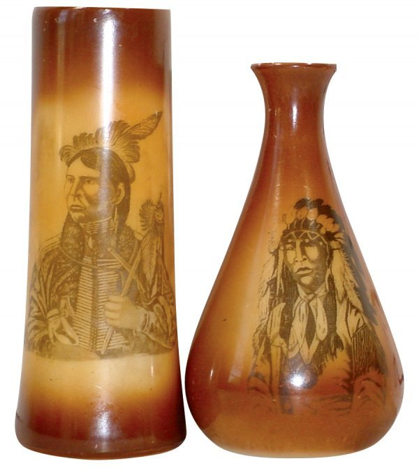 773: Indian portrait vases (2), brown glazed milk glass