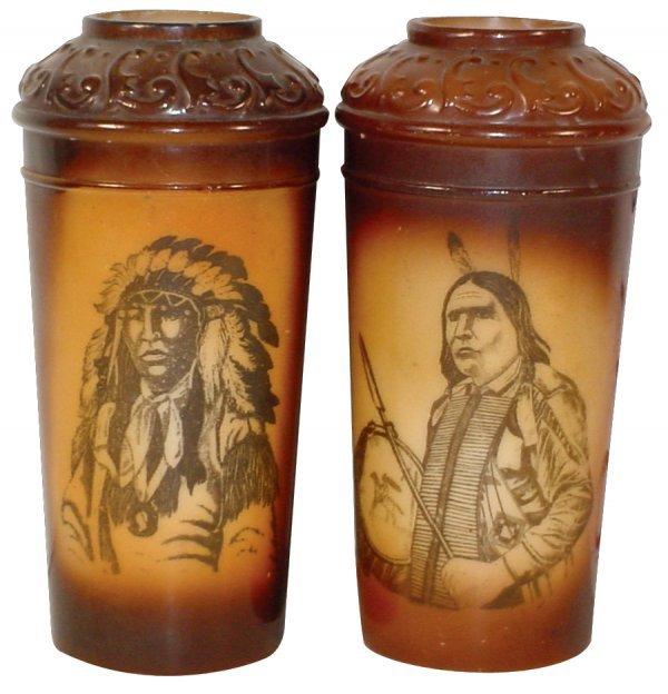 774: Indian portrait vases (2), brown glazed milk glass