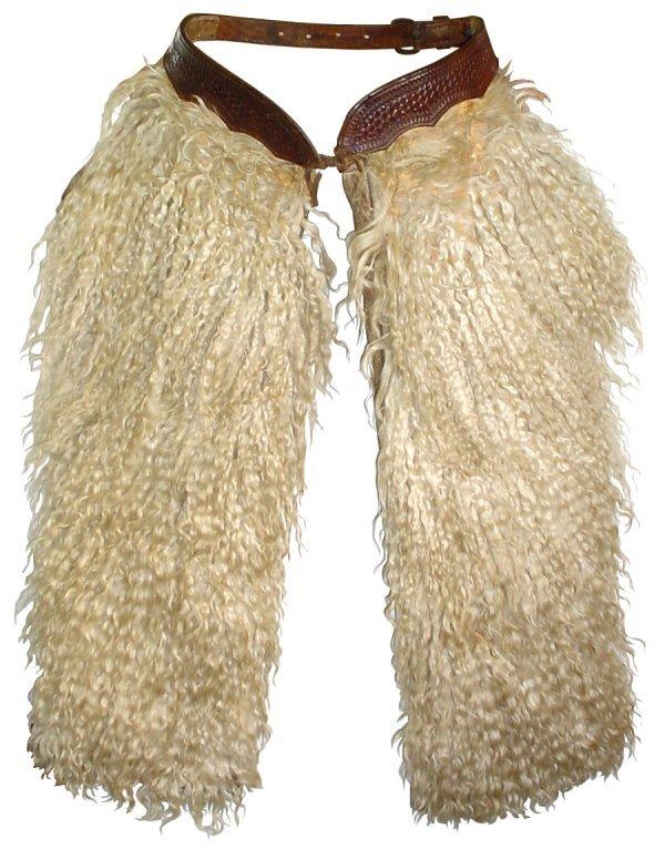 868: Cowboy chaps, white Angora woolly chaps w/basketwe