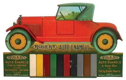 Automotive paint sign, Rogers Auto Enamels, diecut