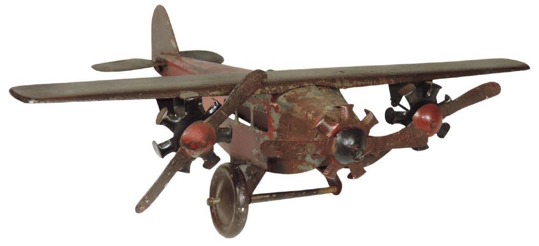 Toy airplane, pressed steel, missing 1 wheel, o/wise VG
