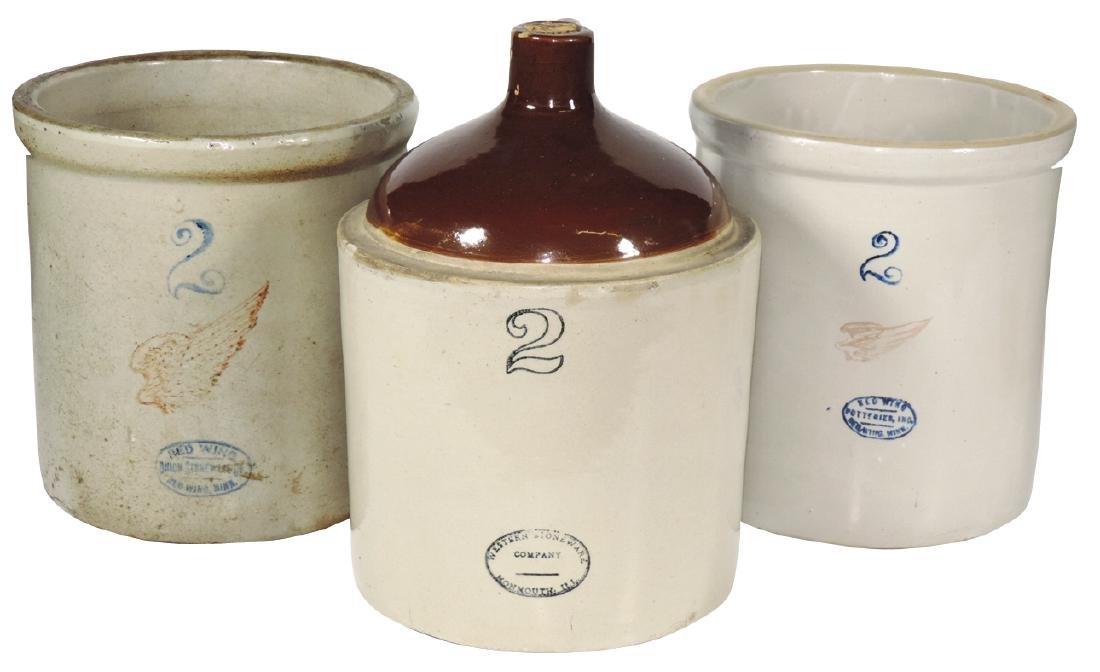 Stoneware crocks & jug (3), two 2-gal Red Wing crocks