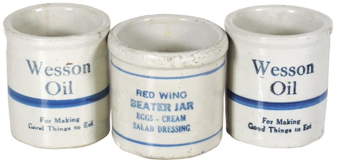 Stoneware advertising beater jars (3), Wesson Oil & Red