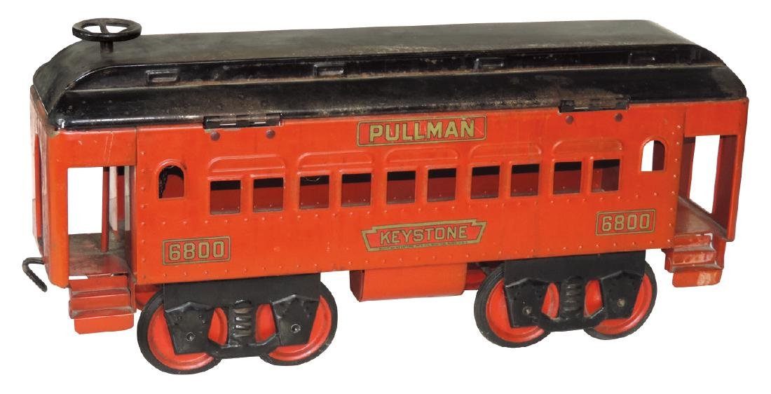 Toy train car, Keystone Pullman #6800, pressed steel,