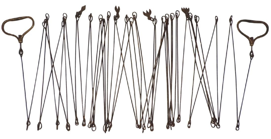 "Surveyor chain, metal w/brass handles, approx. (50) 12"""