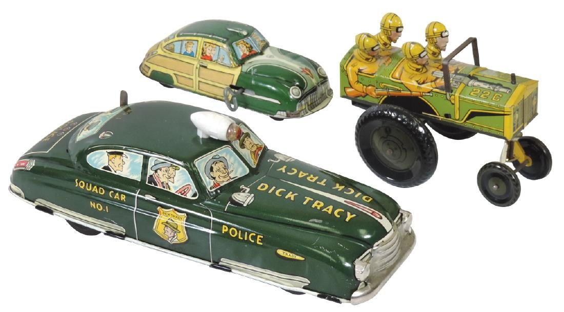 Toy cars & jeep (3), Dick Tracy Squad Car No. 1,