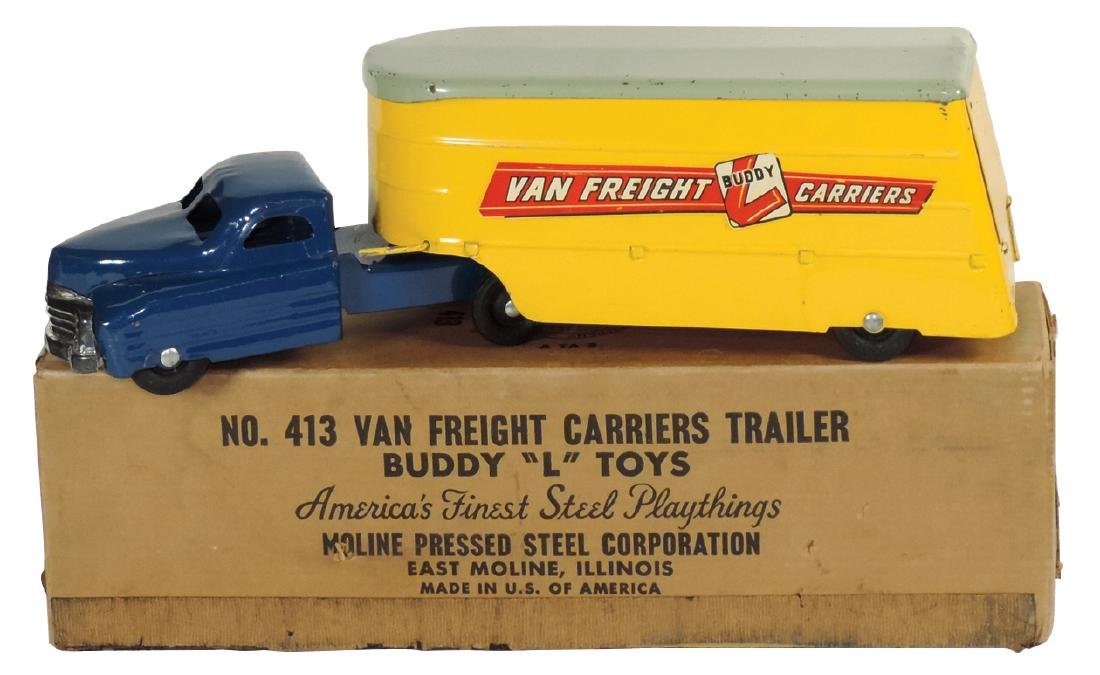 "Toy truck & trailer, Buddy ""L"" No. 413, Van Freight"