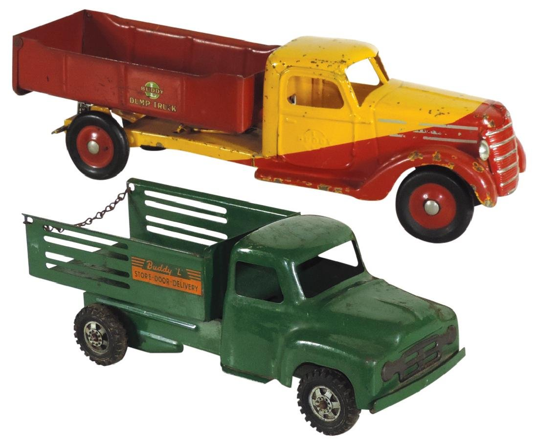 "Toy trucks (2), Buddy ""L"" delivery & dump truck,"