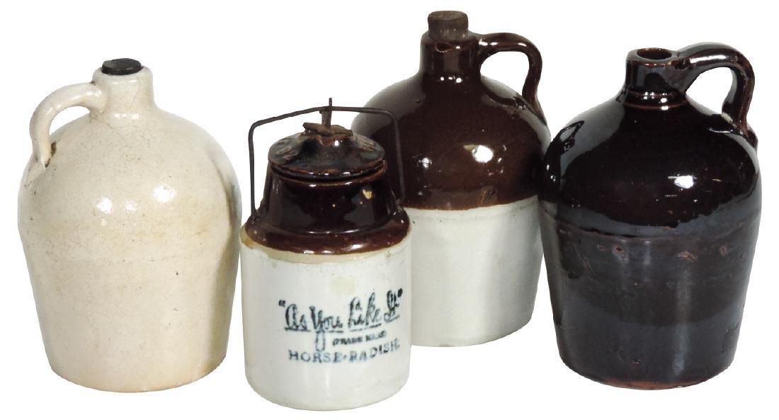 Stoneware (4), Buckeye Pottery Company jug, 2 Macomb