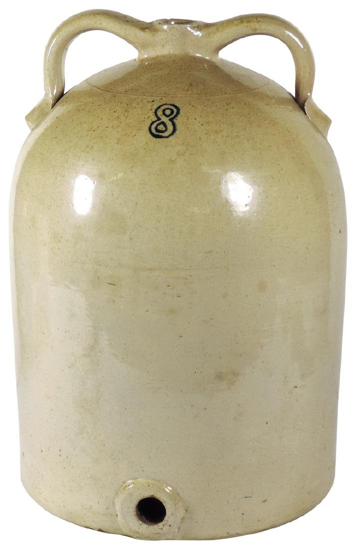 Stoneware thresher jug, Ohio Stoneware 8-gal w/handles,
