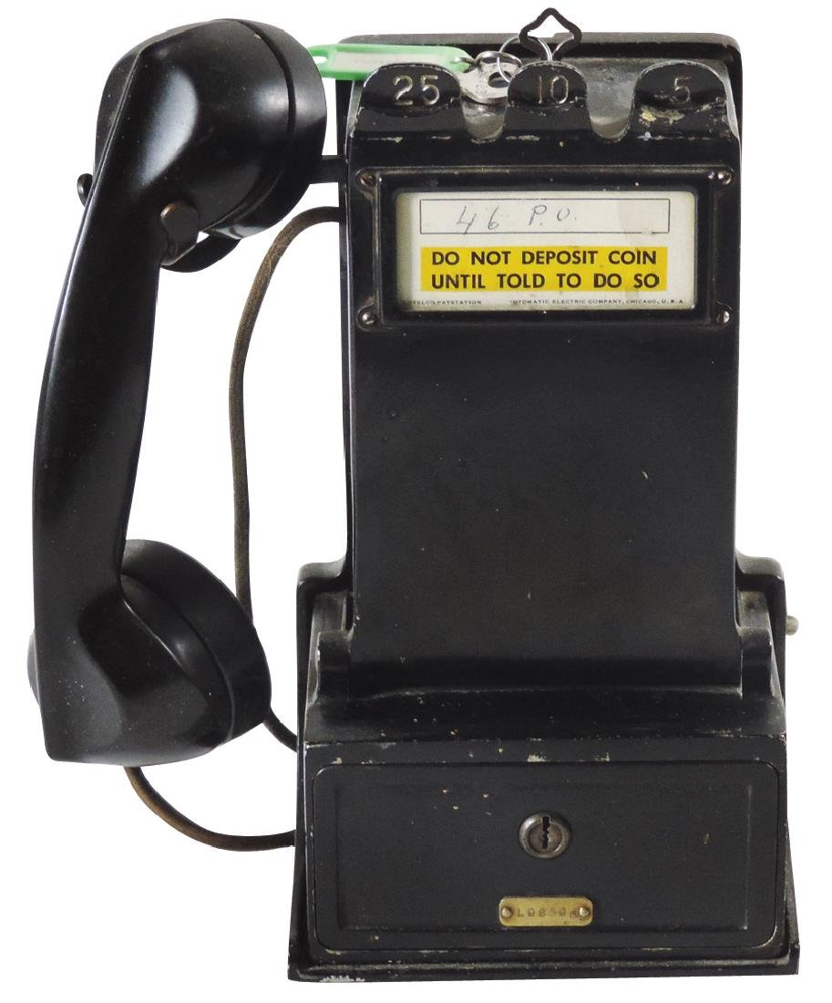 Telephone, cast iron pay phone w/slots for 5, 10 & 25