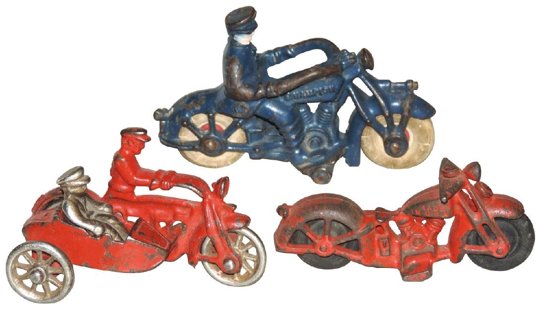 Toy motorcycles (3), Champion, Cop w/sidecar & rider &