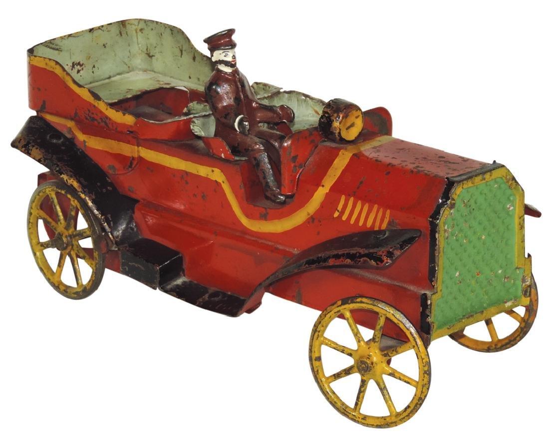 Toy roadster w/driver, sheet steel w/cast metal wheels,