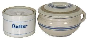 Stoneware butter crock & chamber pot, both w/blue bands