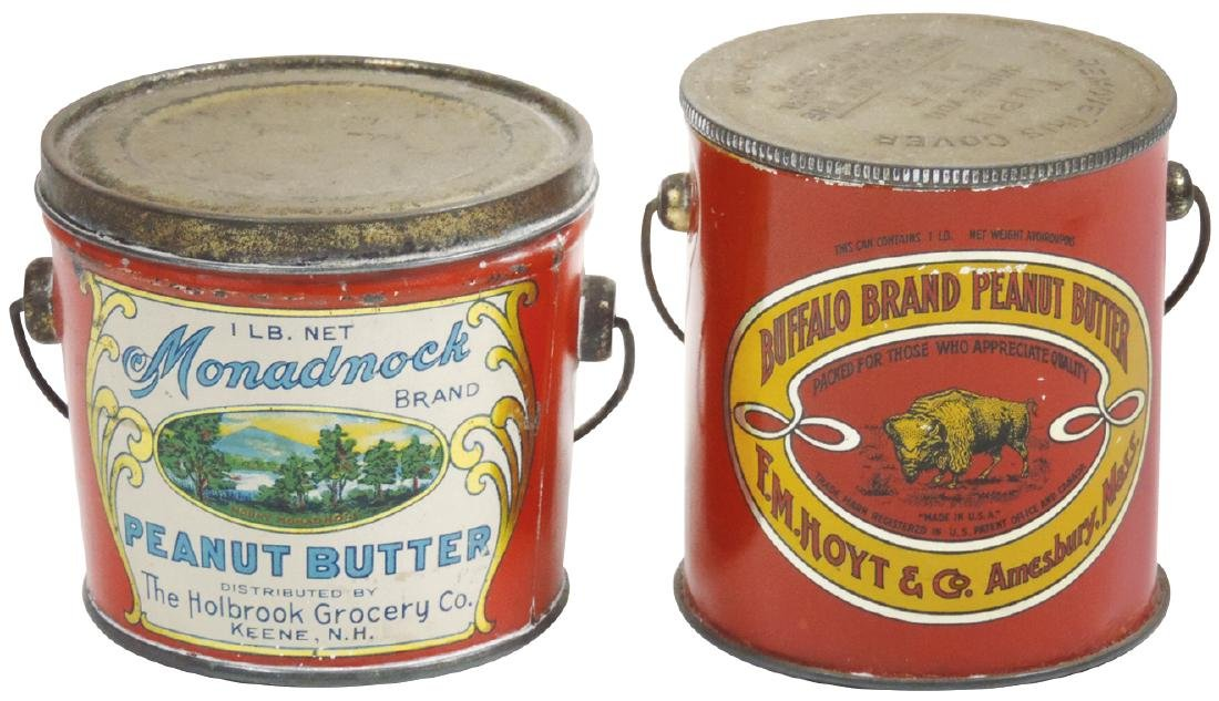 Peanut Butter pails (2), Monadnock Brand 1-lb. tin &