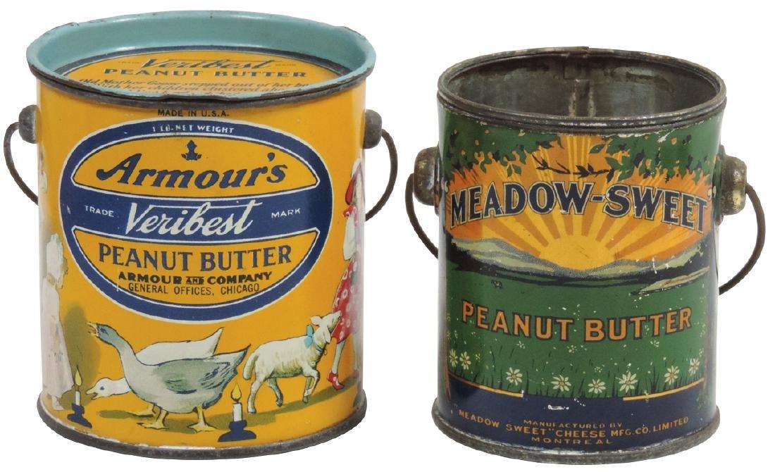 Peanut Butter pails (2), Armour's Veribest 1-lb. tin
