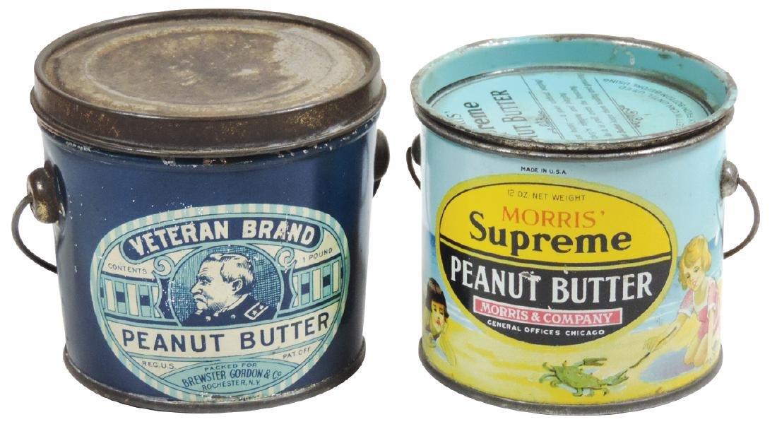 Peanut Butter pails (2), Veteran Brand 1-lb. tin &