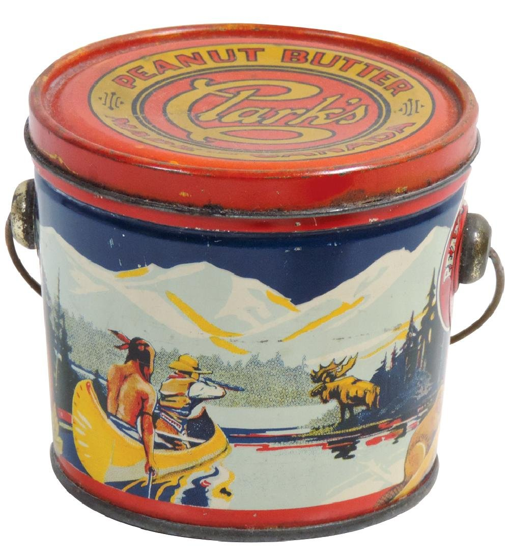 Peanut Butter pail, Clark's Brand 16-oz. tin, made in