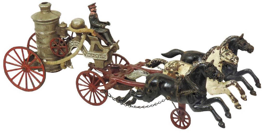 Toy horse-drawn fire pumper w/driver, cast iron, paint