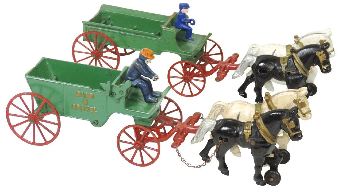 Toys (2), Kenton horse-drawn wagons, Sand & Gravel &