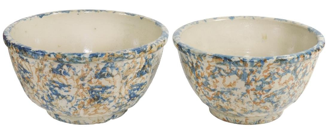 Stoneware Red Wing paneled sponge bowls (2), strong