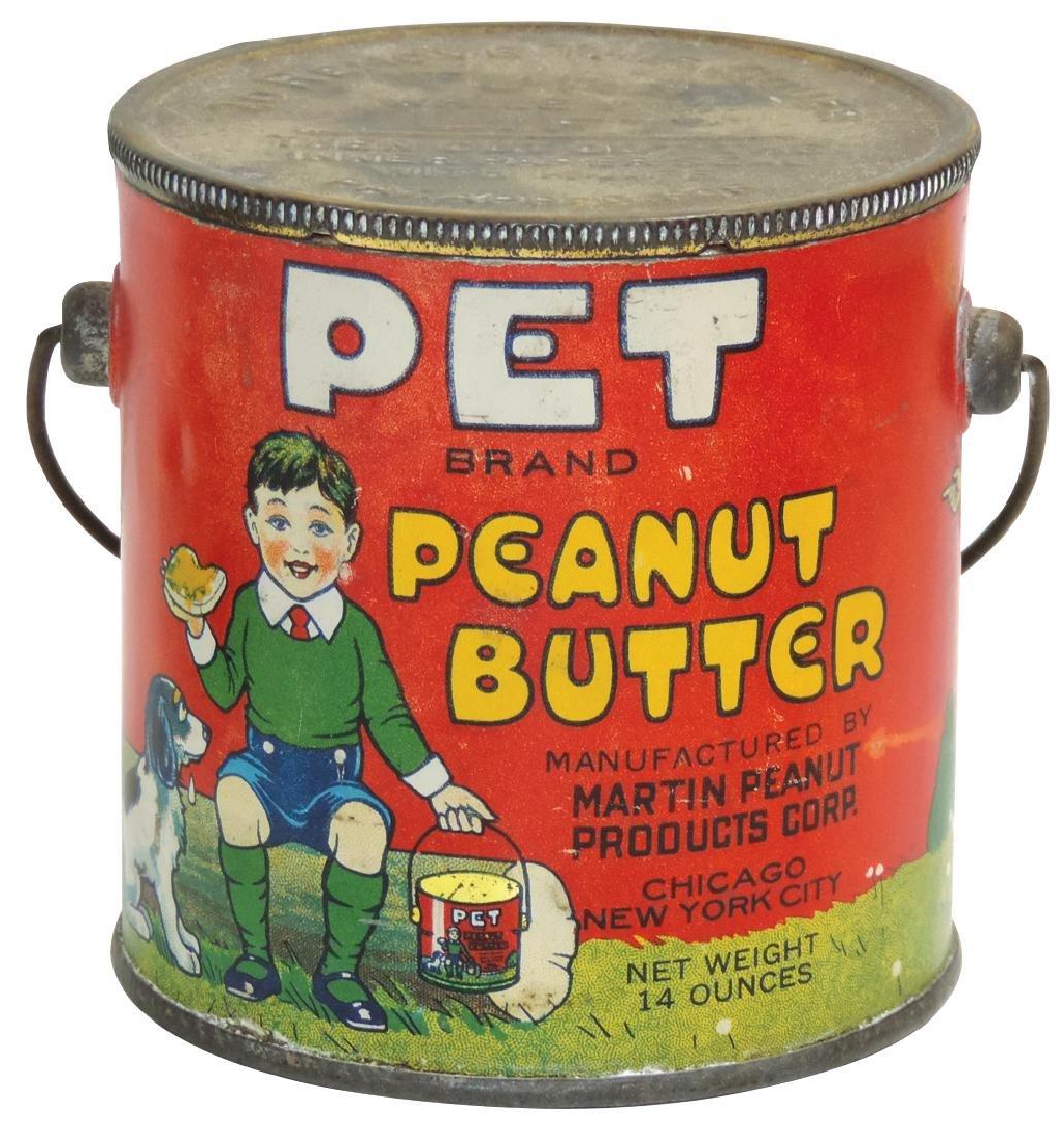 Peanut Butter pail, Pet Brand 14-oz. tin, VG+ cond