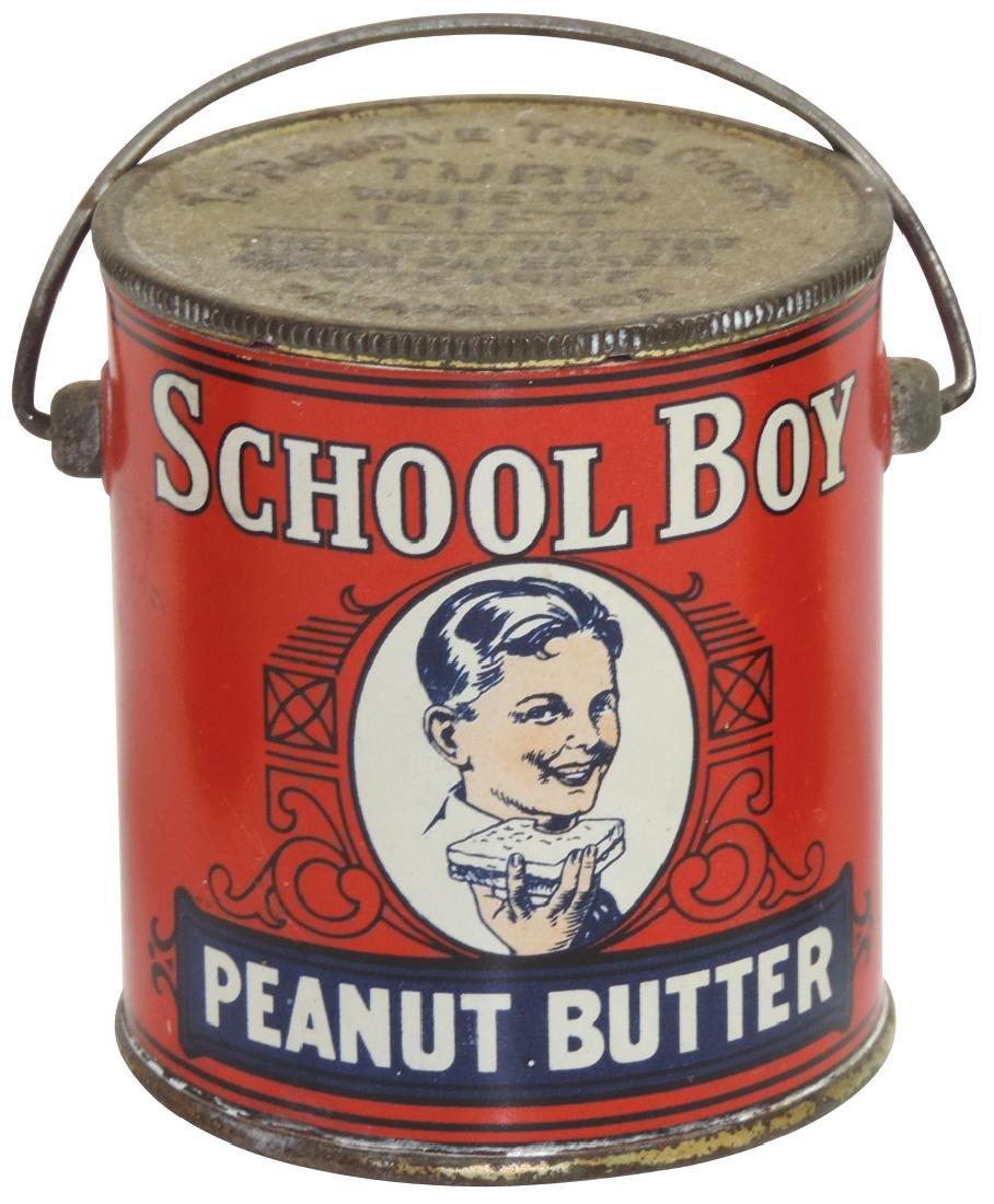 Peanut Butter pail, School Boy Brand 1-lb. tin, some