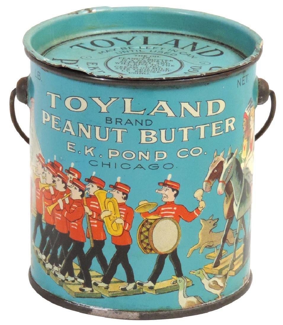 Peanut Butter pail, Toyland Brand 1-lb. tin, Exc cond,