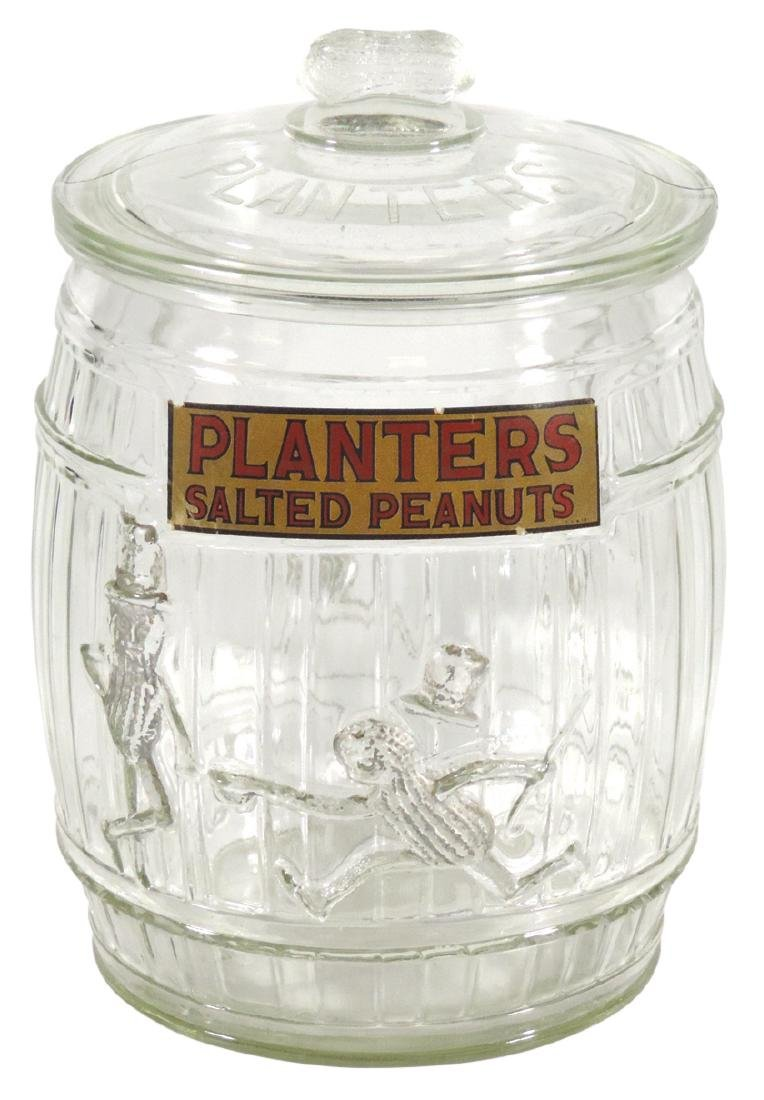 Peanut jar, Planters Peanut, barrel glass jar w/running