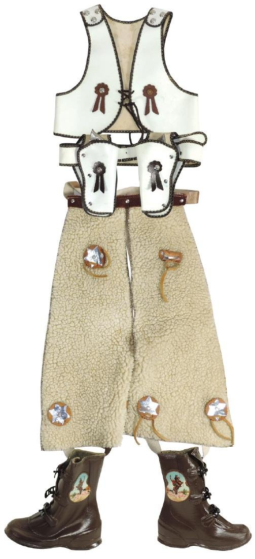 Gene Autry outfit, leather vest, wool chaps, leather