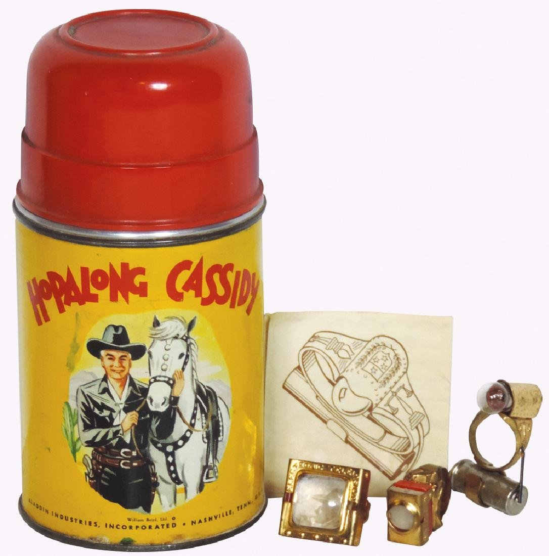 Toy rings & thermos, Lone Ranger flashlight ring