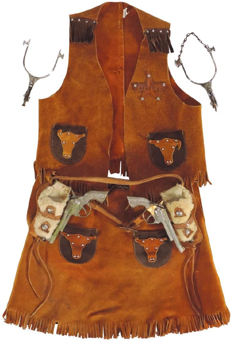 Cowgirl clothing, fringed 2-tone leather vest & skirt