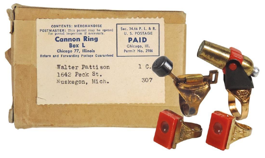 Toy rings (4) plus box, Roy Rogers Branding Iron Ring,