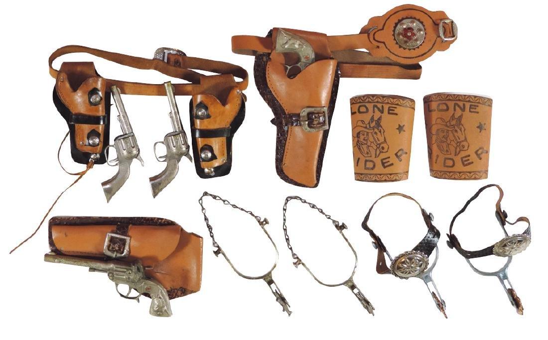 Cowboy accessories (6), Lone Rider cuffs, (2) sets of