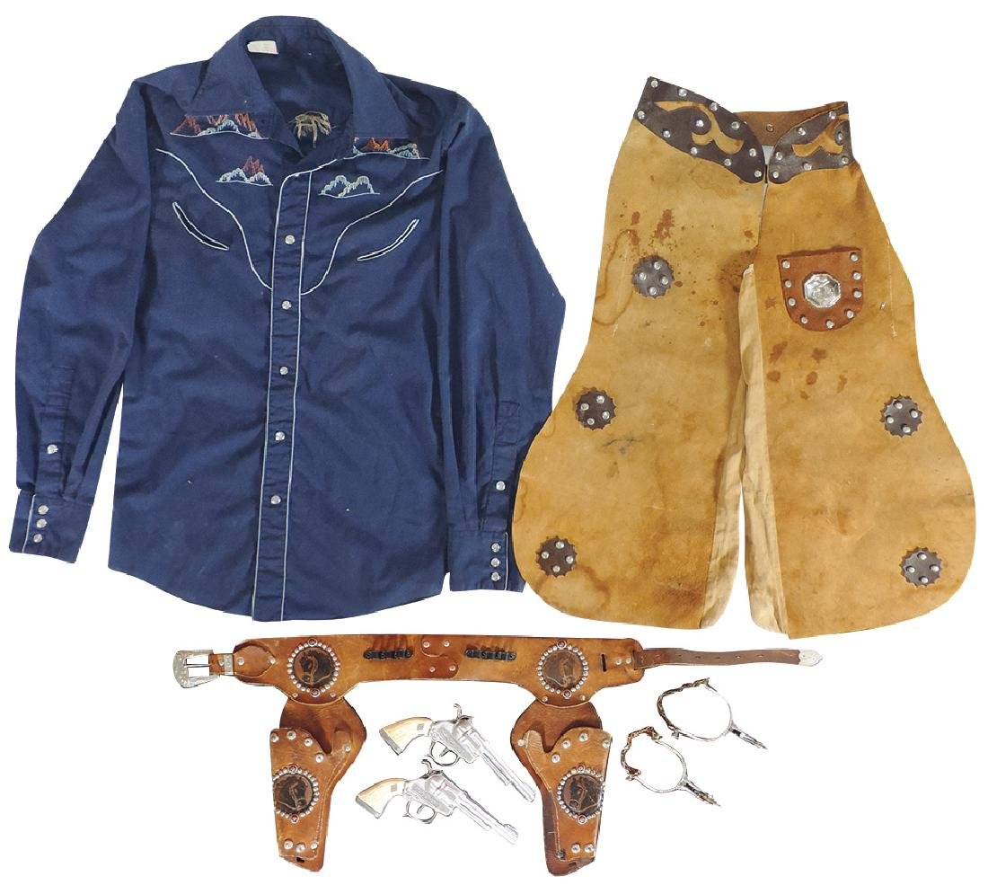 Cowboy clothing & accessories (4), 3-tone leather chaps