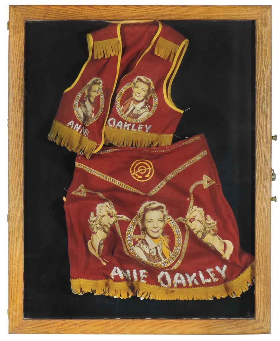 Annie Oakley fringed cloth vest & skirt, c.1950's, Exc