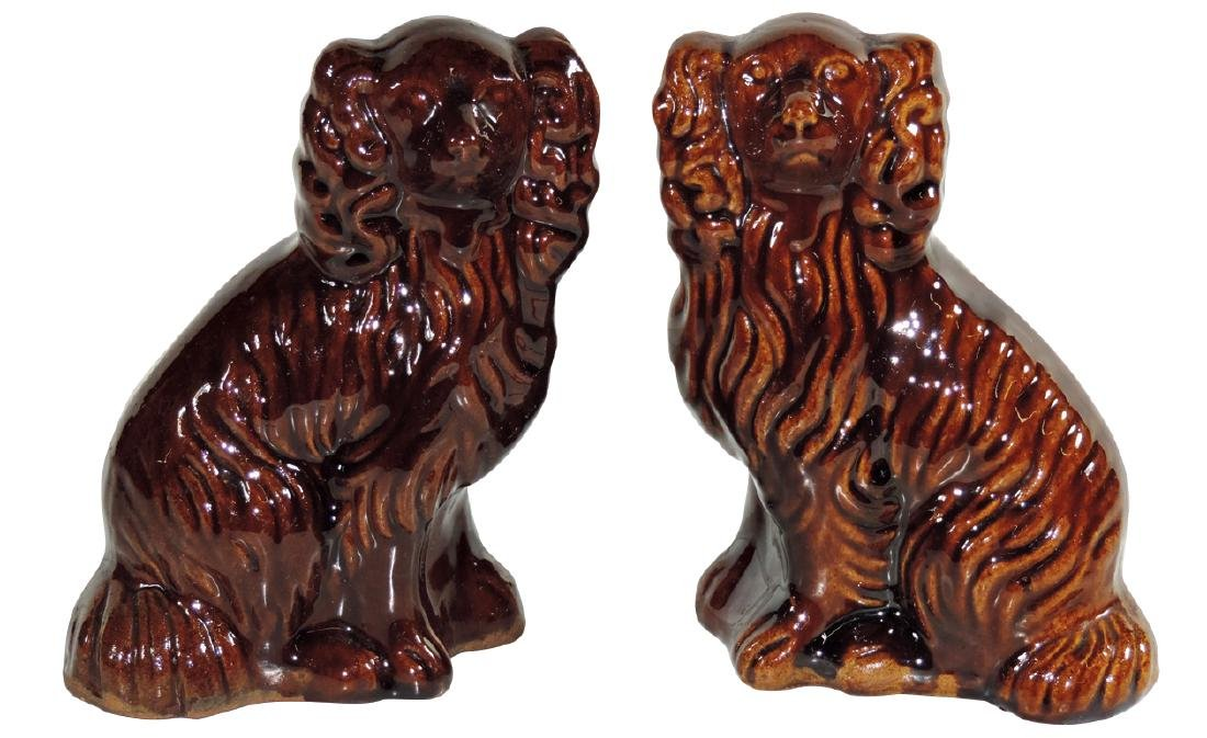 Stoneware (2), Bennington Spaniels, 1 w/minor base