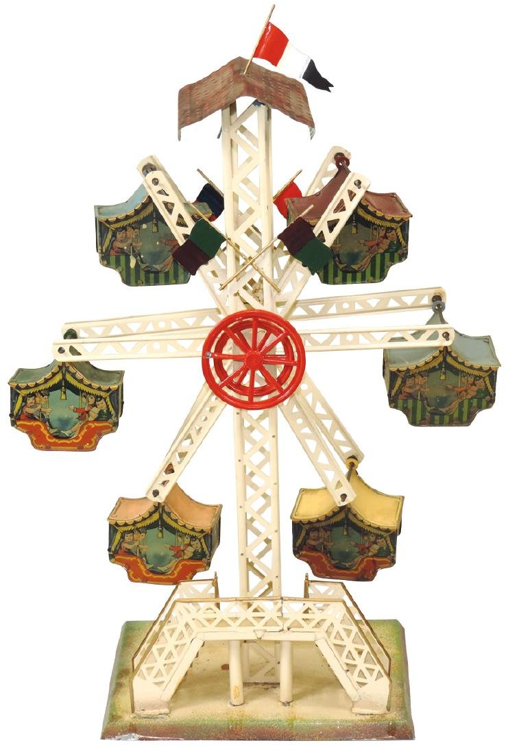 Toy carnival ride, litho on tin w/6 gondolas, stamped