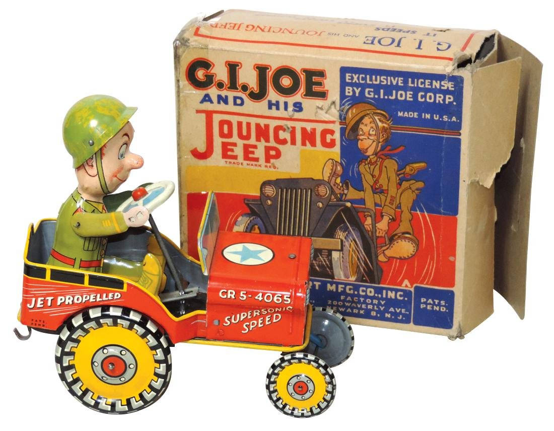 Toy G.I. Joe and His Jouncing Jeep tin windup, mfgd by