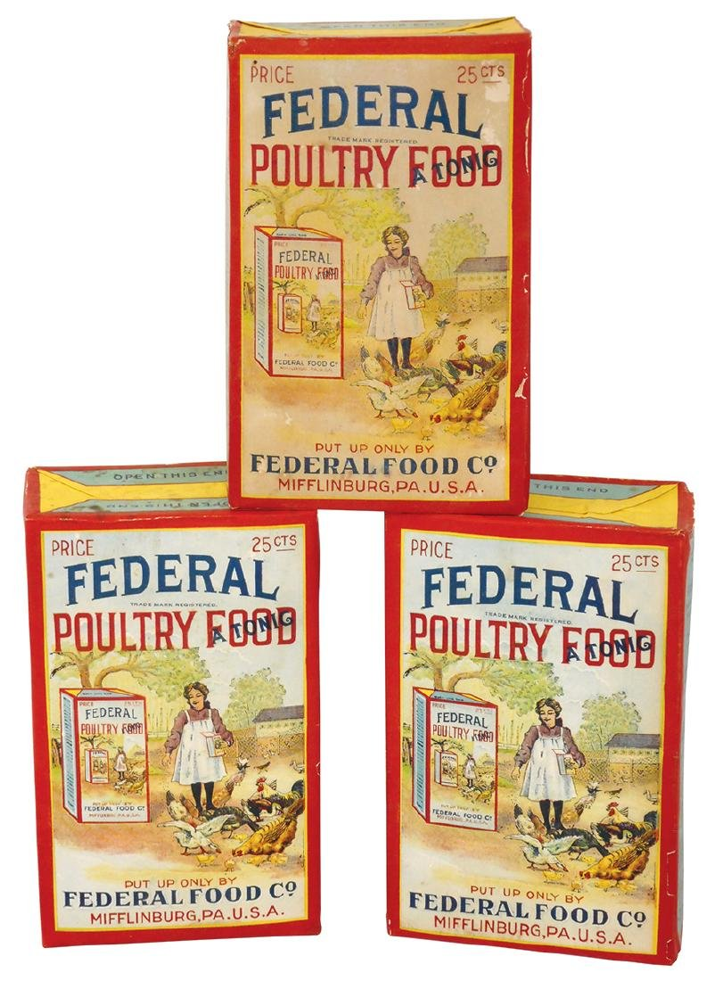Poultry feed boxes (3), Federal Poultry Remedy