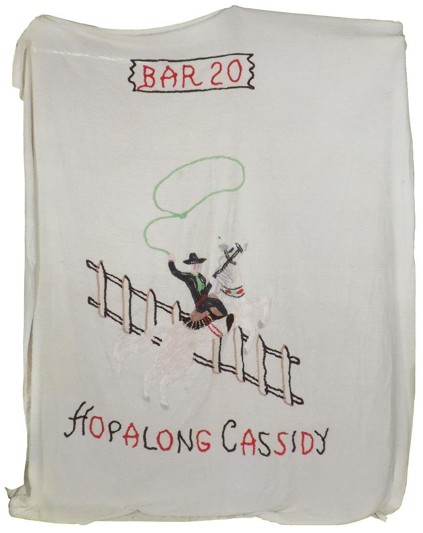 """Hopalong Cassidy bedspread, double bed size 96"""" x 107"""","""