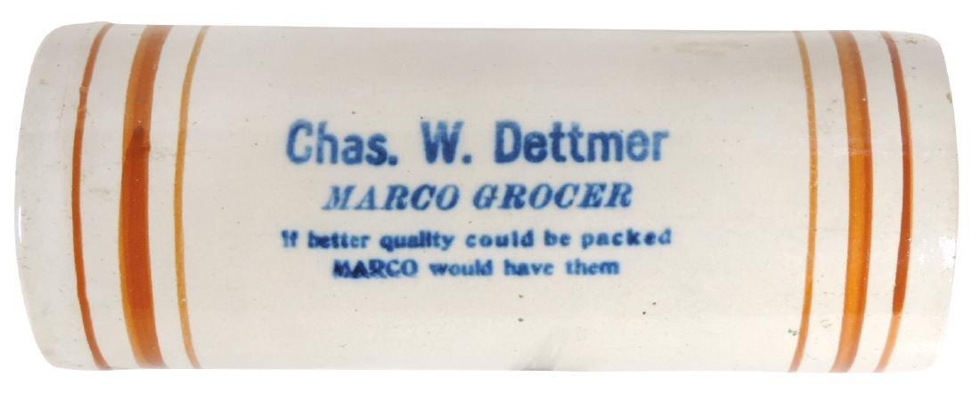 "Stoneware advertising rolling pin, ""Chas. W. Dettmer"