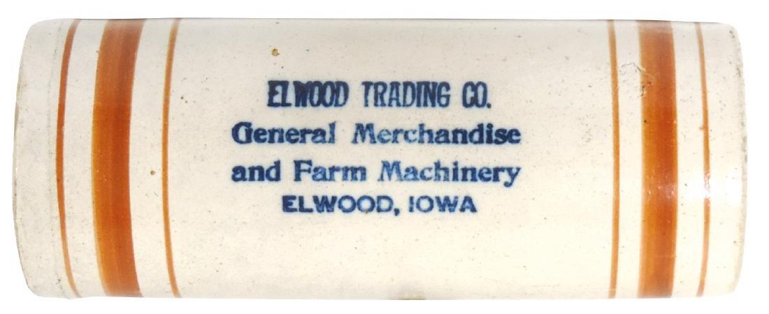 "Stoneware advertising rolling pin, ""Elwood Trading Co."