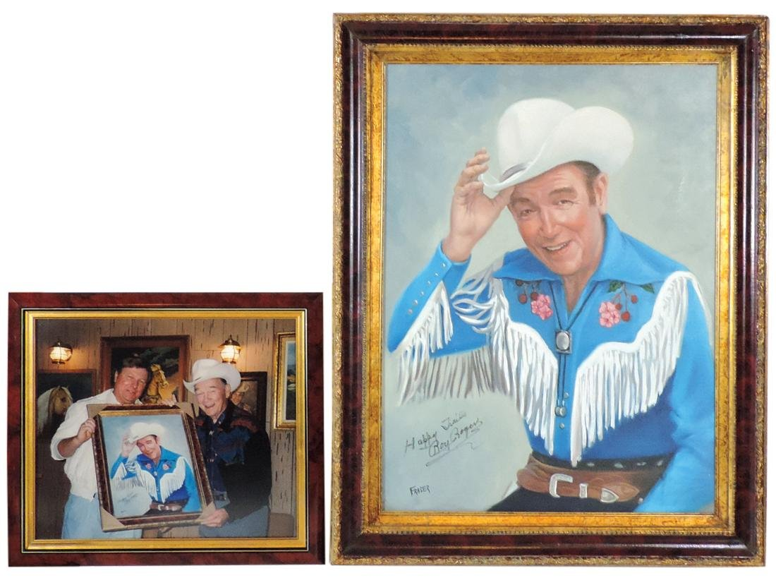 Roy Rogers oil on canvas, hand-painted portrait of Roy,