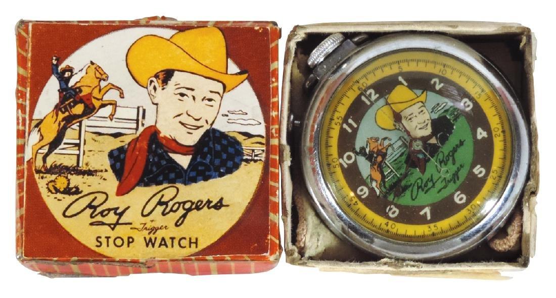Roy Rogers stop watch, orig box & cloth bag, Guarantee