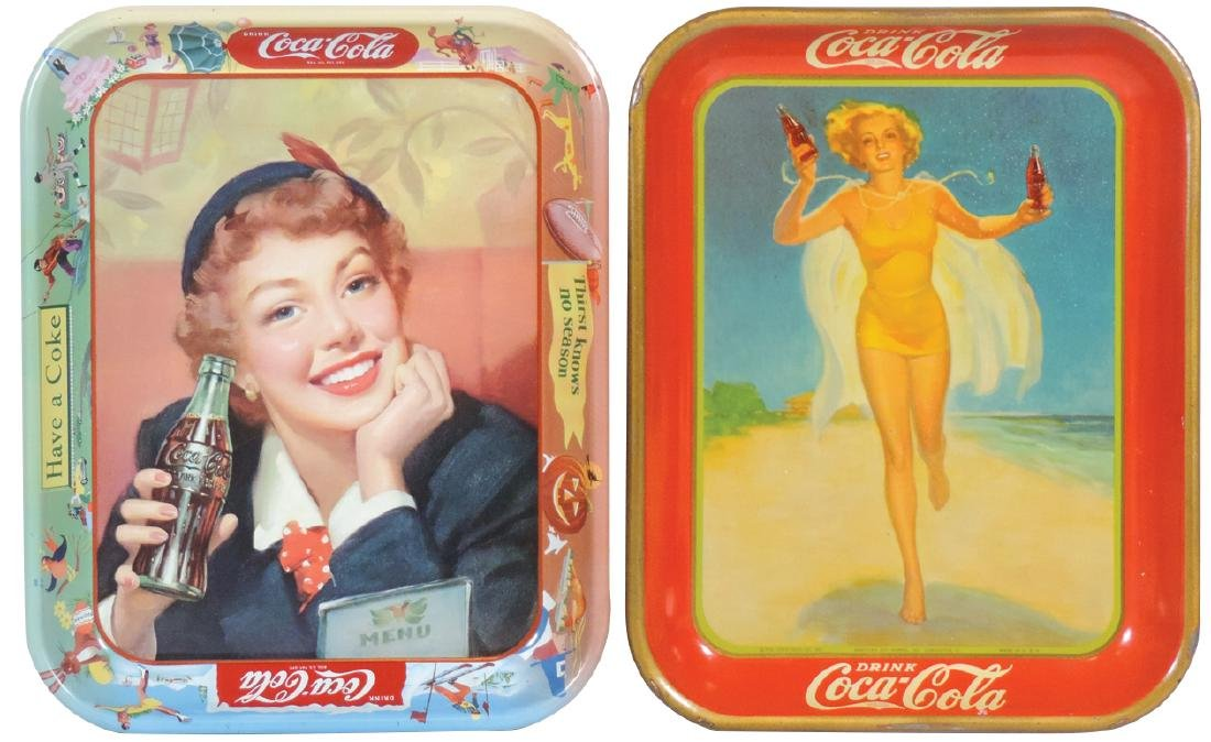 Coca-Cola serving trays (2), 1937 Running Girl &