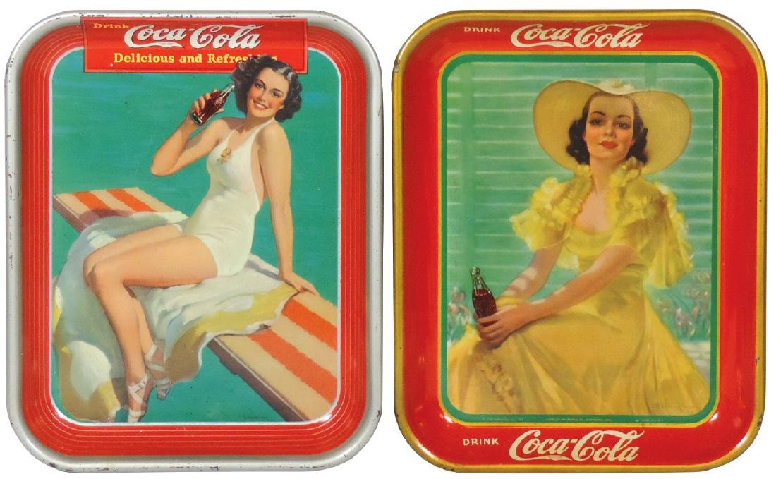 Coca-Cola serving trays (2), 1938 Girl in Yellow Dress